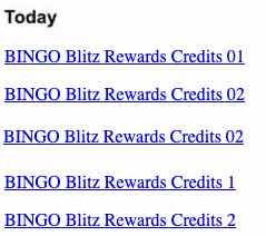 bingo blitz free credits and bonus